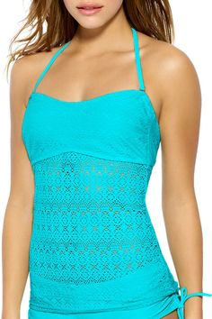 Hot Water Juniors Easy Breezy Bandeau Tankini Top XLarge Blue