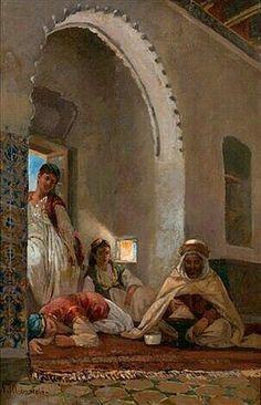 Algérie - Peintre Français Numa Marzocchi de Belluci (1846 - 1930),Huile sur toile , Titre : Scène de la vie Arabe