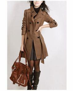 Korean Women's Standing Collar Belt Slim Wool Jacket Warm Winter Long Coat  #Other #Fashion