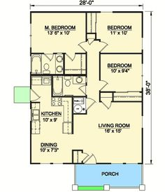 Craftsman Starter Home - floor plan - Main Level Add a foyer/computer room Small House Floor Plans, Best House Plans, Simple Floor Plans, Master Suite, Cottage Plan, Starter Home, Bedroom House Plans, Architectural Design House Plans, Cabin Plans
