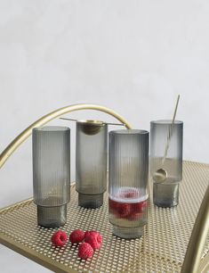 Ferm Living Ripple Smoked Grey Long Drink Glasses - Set of Four. Shop now at Rose & Grey. Long Drink, Welcome To My House, Cool Glasses, Crystal Glassware, Grey Glass, Drinking Glass, Glass Design, Rose, Kitchen Accessories