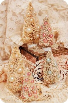 Beautiful Glitter & Glitz Putz House Bottle Brush Tree DIY Inspiration * What a great way to re-purpose vintage jewelry- especially pearls!