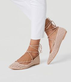 Cutout Lace Up Flats. Lace flat shoes, gorgeous lace flat shoes in nude.