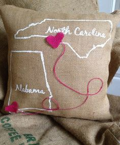 Heartstrings Burlap Pillow North Carolina Alabama by CaraMiaDecor, $35.00  can I get this with Georgia!
