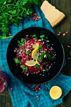 Beetroot sauce spaghetti with mushrooms and pomegranate