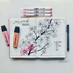 Bullet journal mood tracker, cherry blossoms drawing. | @bujo.crafts