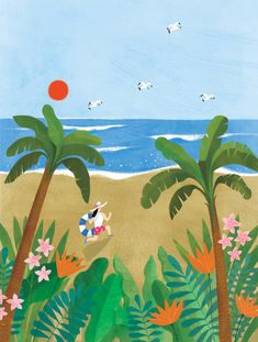 Korean Illustration, Cute Illustration, Palm Tree Art, Mural Art, Illustrations And Posters, Summer Art, Pictures To Paint, Flower Art, Illustrators