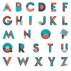 Fonts geometric Vectors, Photos and PSD files Typography Alphabet, Graffiti Alphabet, Creative Typography, Modern Typography, Vintage Typography, Typography Fonts, Typography Design, Logo Design, Lettering