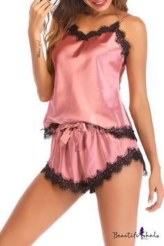 7bca52c02 Summer Fashion Sexy Lace-Trimmed Cami Silk Sleepwear Loungewear for