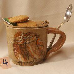 Stoneware Kissing Owls Mug Hand Painted Owl Mug by OrnaArtHeart, $27.00