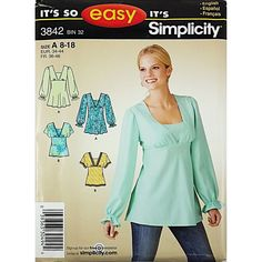 "Sewing Pattern Simplicity 3842 Misses' Pullover Bias Tunic or Top Size: 8, 10, 12, 14, 16, 18 Bust: 31 1/2-40"" Waist: 24-32"" Hip: 33 1/2-42"" Pattern is complete with 10 pieces, instructions, and envel"