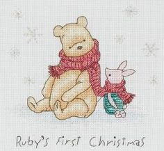 Pooh and Piglet first Christmas cross stitch kit