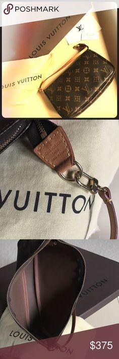 Authentic Louis Vuitton Pochette Authentic Louis Vuitton Pochette in classic monogram print. Leather is rich honey patina. Includes dust bag only. Always open to offers. Louis Vuitton Bags Clutches & Wristlets