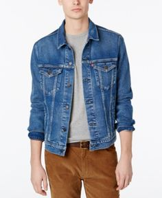 Men's Denim Trucker Jacket The original jean jacket since Features a standard fit with a hem that hits below the waist and welt hand pockets. We suggest ordering true to size for a tailored fit or size up for a more relaxed fit. Plus Size Shopping, Timberland Mens, S Man, Dresses With Leggings, Jackets Online, Baby Clothes Shops, Trendy Plus Size, Dame, Men's Denim