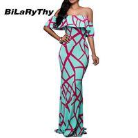 Summer Style Women Dresses Sexy Off Shoulder Bohemian Print Long Maxi Dress Ruffles Floor Length Vestidos
