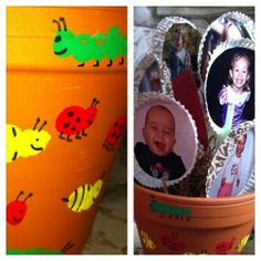 Flower Pot with Fingerprints. Clay pot, and paint. The caterpillars are their fingerprints and the lady bugs and bees are their thumb prints. After the paint dried use a sharpie to add eyes, stripes, legs, etc.