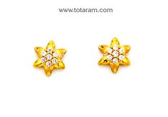 Gold Earrings for Women in 22K Gold with Cz - GER6618 - Indian Jewelry from Totaram Jewelers