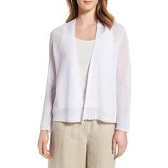 Women's Eileen Fisher Boxy Organic Linen Cardigan ($188) ❤ liked on Polyvore featuring tops, cardigans, white, boxy top, white summer tops, eileen fisher tops, open knit cardigan and eileen fisher cardigan