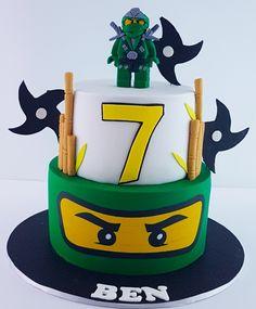 Ninja Lego Cake, Ninja Birthday Cake, Lego Ninjago Cake, Twin Birthday Cakes, Ninja Birthday Parties, Ninjago Party, 7th Birthday, Festa Ninja Go, Diy Unicorn Cake