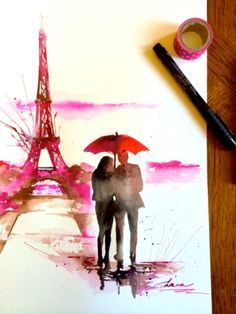 New original watercolor inspired my recent trip in Paris # Lana Moes art, # watercolor, # Paris, # red umbrella,