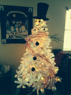 My Snowman Christmas Tree. He Turned Out Pretty Cute. Hat Topper And Green  Branches · Garden RidgeSnowman ...