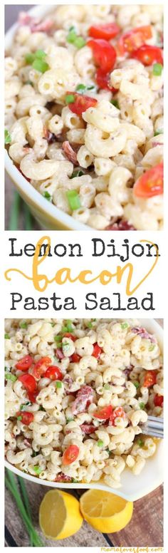 Lemon Dijon Bacon Pasta Salad Recipe - super easy to make and perfect for your next picnic or potluck!