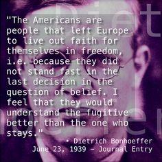 Dietrich Bonhoeffer quote personal journal