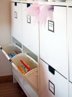 use shoe rack as as a container for other things, add label on drawers / IKEA hack // Hitta hem Ikea Shoe Cabinet, Shoe Cabinets, Dressing Room Closet, Floating Cabinets, Kids Storage, Kids Decor, Home Decor, Ikea Hack, Kids Bedroom