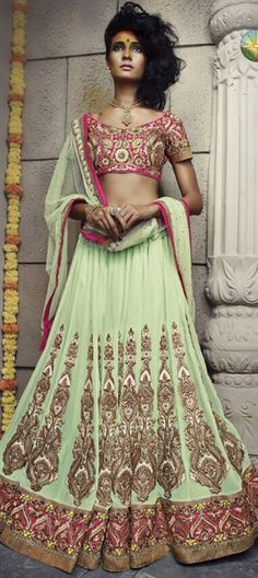 Georgette #lehenga with golden #Embroidery, check out this style for your wedding - Order at flat 10% off.  #bride #indianwedding #Pastel