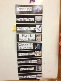 Vertical visual schedule using a letter to indicate the current part of the day. #sjsd www.sjsd.k12.mo.us/preschool