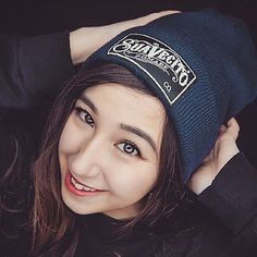 @calistaleahliew keeping warm in our blue Suavecito beanie. Get your own at www.suavecitopomade.com. Photo by @vintscty