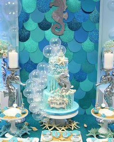 Under the sea baby shower dessert table and decor Mermaid Theme Birthday, Little Mermaid Birthday, Little Mermaid Parties, Birthday Decorations, Birthday Party Themes, Party Kulissen, Theme Mickey, Mermaid Baby Showers, Baby Shower Desserts