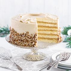 This Caramel Pecan Doberge is a classic rendition of the famous New Orleans doberge cake. It's sure to be a hit at your holiday party. Caramel Pecan Doberge Cake Tips   Plan ahead! Cake layers may be baked 1 week ahead of time, and frozen. Wrap layers tightly with plastic wrap, and thaw completely before using.  No