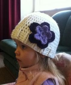 This is a pattern I made up for my 3 year old daughter. She has a head circumference measurement of 20 inches (50.8cm). Hook: 5.5mm (I) … or whatever hook achieves required hat circumference …