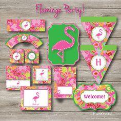 Flamingo Printable Party Collection, Birthday, Shower, Luau via Etsy