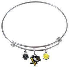Pittsburgh Penguins NHL Expandable Wire Bangle Charm Bracelet – SportsJewelryProShop