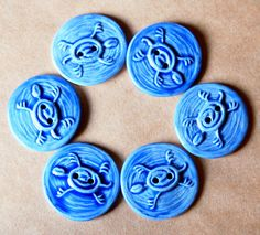 6 Handmade Ceramic Buttons - Turtle Buttons in Blue Gloss Porcelain