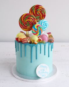 Blue Candy Sweets Drip Cake #candy #candycake #candyland #lollipop #dripcake