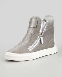 Laceless Stingray-Embossed Sneaker, Silver by Giuseppe Zanotti at Neiman Marcus.