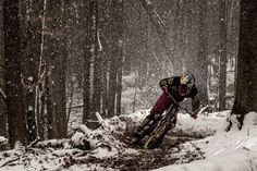 Another awesome shot of Jens ripping through the Stuttgart snow. Proof that mountain biking is not a fair weather sport.
