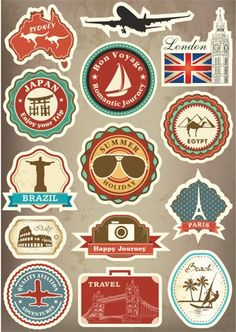 Famous Scenic Spot Vintage Car Sticker on Luggage Suitcase Trolley Travel Bag Guitar Stickers Skateboard Scooter Laptop Stickers Guitar Stickers, Band Stickers, Phone Decals, Laptop Stickers, Suitcase Stickers, Travel Party, Thinking Day, Travel Themes, Road Trip Essentials