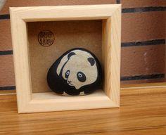 石趣部落 原创手绘石头 盒装大熊猫 礼物