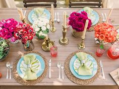 A use of floral arrangements, punchy pastels and b
