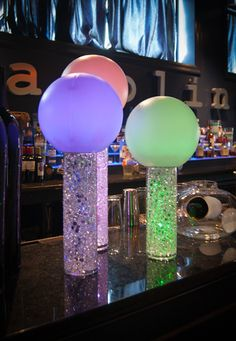 Aqua Gems in Vases with Light Up Orb Toppers