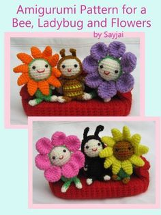 Easy Crochet Flowers | ... Pattern for a Bee, Ladybug and Flowers (Easy Crochet Doll Patterns
