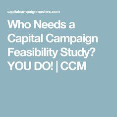 Who Needs a Capital Campaign Feasibility Study? YOU DO!   CCM