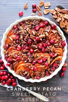 This Cranberry Pecan Sweet Potato Casserole has everything fall and the holidays ever imagined. The dark, rich red of cranberries, pecans coated in brown sugar and sweet potatoes which are a holiday must have.