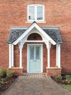 The English Porch Company produce beautiful bespoke and traditional wooden porches, porch kits, porch frames, oak framed porches and canopy porches in the UK. Porch Uk, Porch Roof, Side Porch, House With Porch, Screened In Porch, House Front, Front Porches, Brick Porch, Cottage Porch