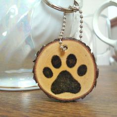 Handmade Wood Slice Keychain Rustic Wooden Paw Print Pet Lover Key Ring