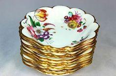 VINTAGE ROYAL ALBERT CHINA DRESDEN SET 11 SHELL BOWLS WHITE GOLD PINK FLORAL Soup Bowls, Rice Bowls, Beautiful Soup, Cream Soup, Vegetable Bowl, Royal Albert, Dresden, Teapots, Cereal